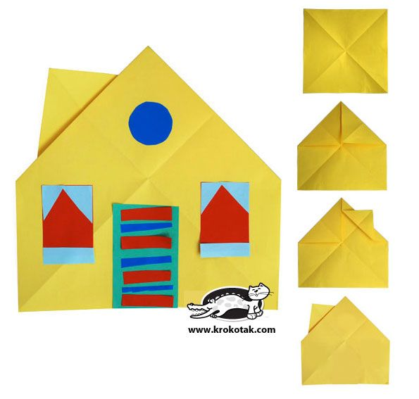 Collage HOUSE- make the origami before hand and have the kids choose what shapes go where on their house!