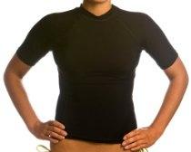 Beach Depot UPF 50+ Women's Short Sleeve Rash Guard Shirt - Black XL