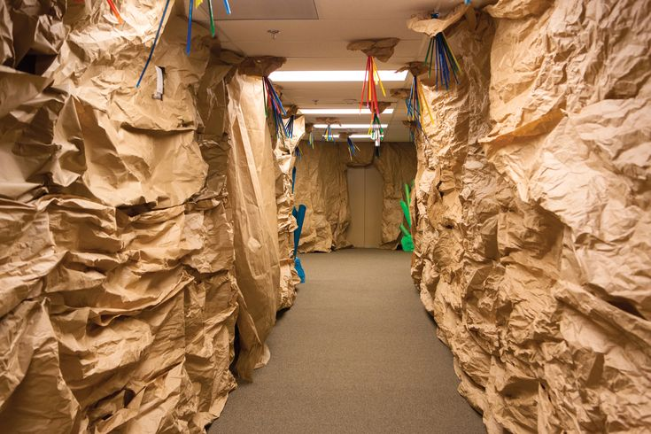 Create a cave-like setting in your Cave Quest hallways with brown kraft paper, crumpled together to create fun textures! #cavequest