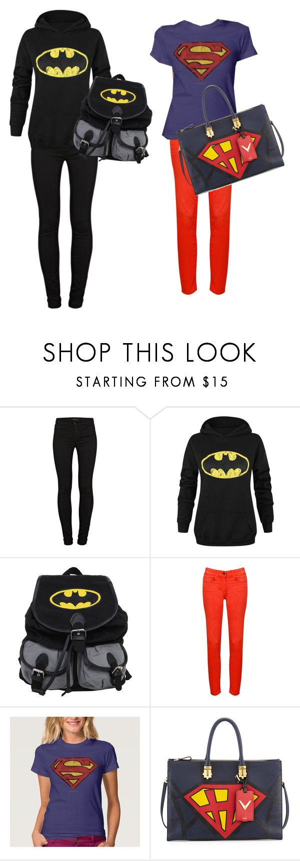 """Batman vs superman"" by alooza ❤ liked on Polyvore featuring J Brand, Relish, Valentino, women's clothing, women's fashion, women, female, woman, misses and juniors"