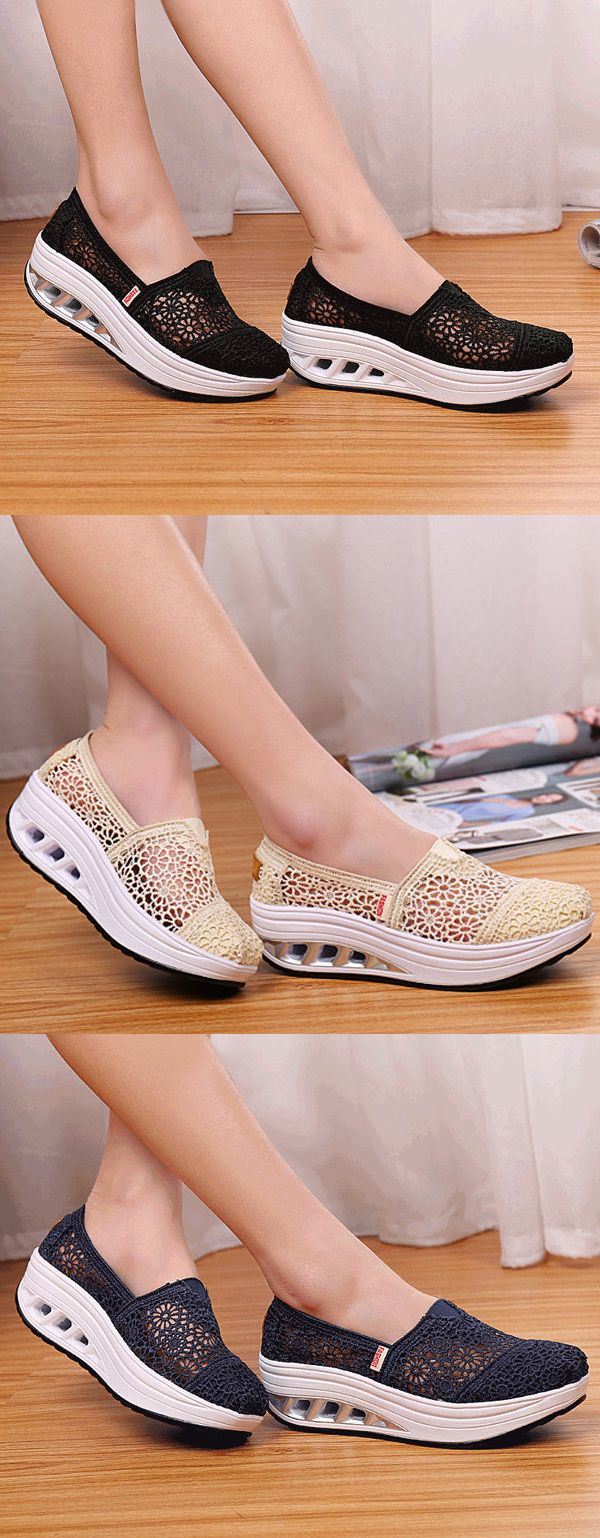 $19.75 Lace Breathable Platform Rocker Sole Shake Shoes For Women,sport shoes women,women's sport shoes,casual shoes women,casual shoes ideas