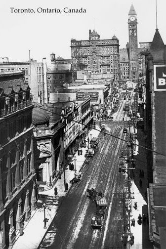 CCT0001 - Looking north along Bay St. to (Old) City Hall, Toronto c1912.
