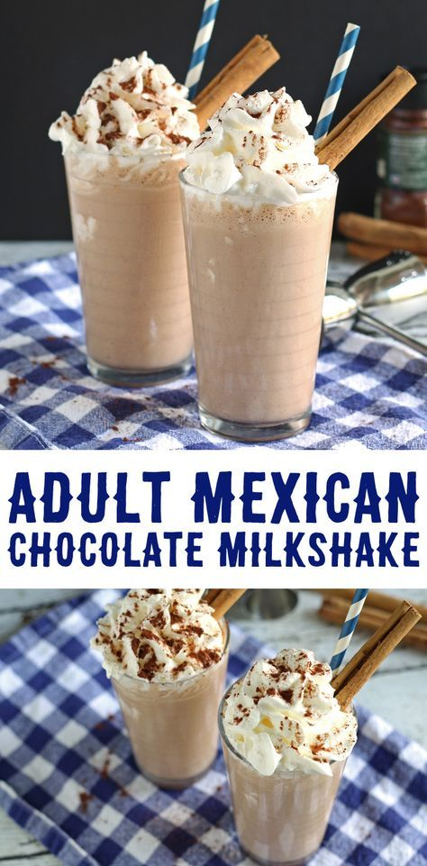 This adult Mexican chocolate milkshake recipe is a delicious blend of chocolate, cinnamon, chipotle chile powder and Cafe Patron! | honeyandbirch.com