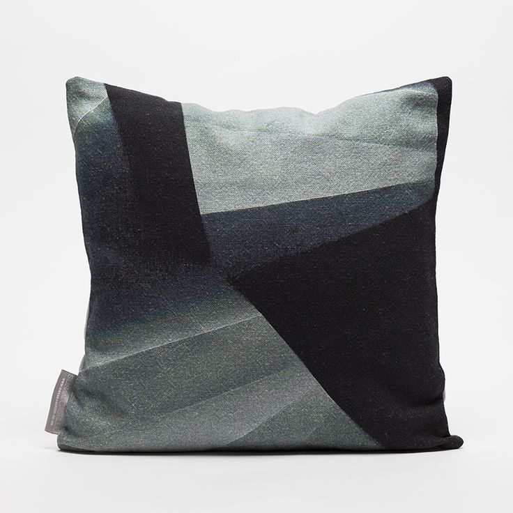 Photographic print Design Using the principles of a Photgram (Cameraless photograph) and sculpted paper.  'Fold' Limited Edition, Fife Linen Cushion in Blue/Grey. Made in Scotland. www.susancastillo.co.uk