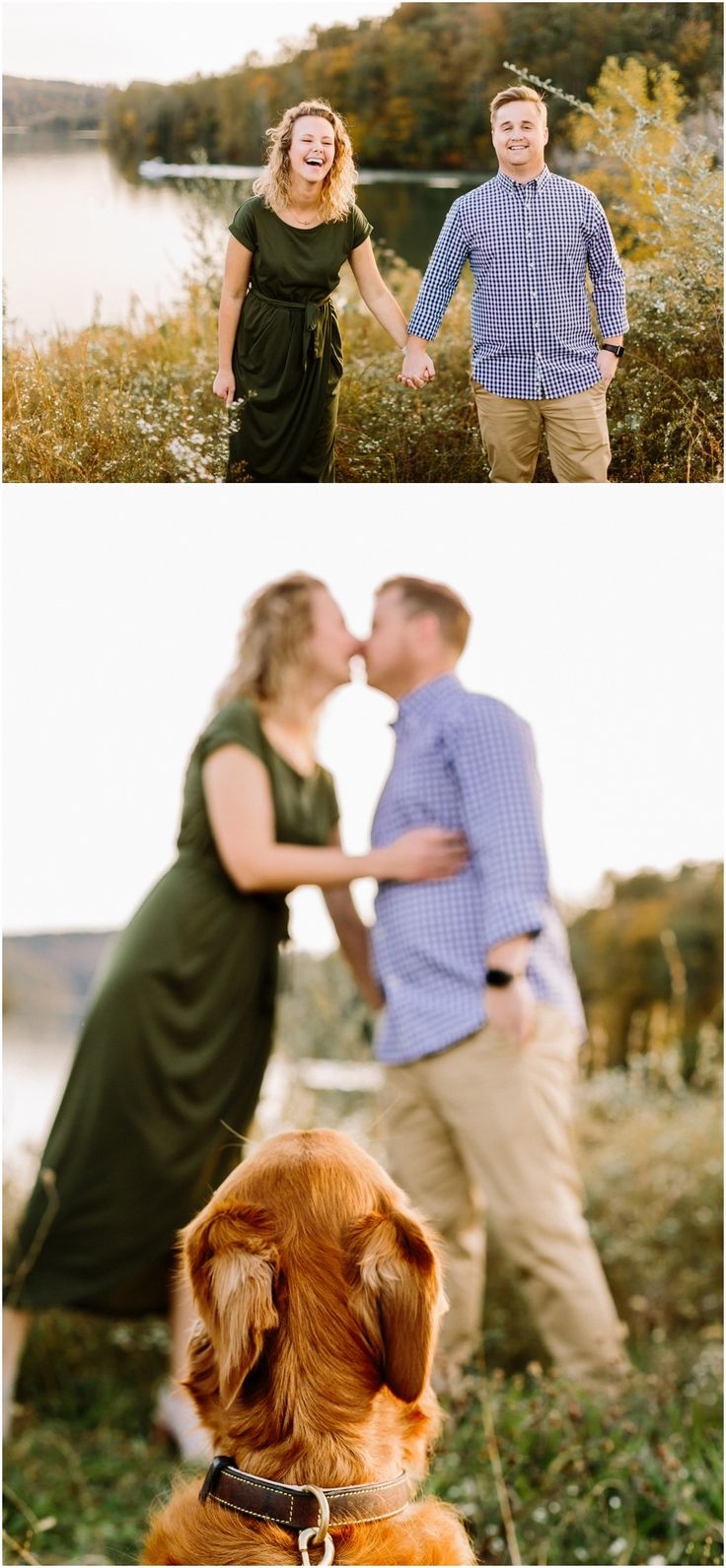 Cute fall engagement photos with their dog, a golden retriever, in Knoxvill TN – Knoxville Engagement Pictures