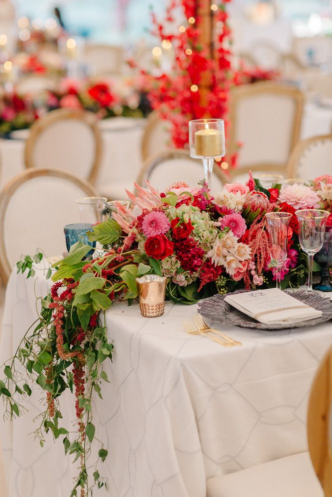 The florals on these banquet tables are to die for