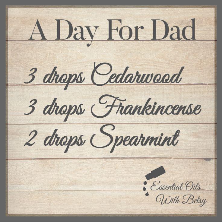 A Day For Dad Essential Oil Diffuser Blend 3 drops Cedarwood 3 drops Frankincense, 2 drops Spearmint essential oils
