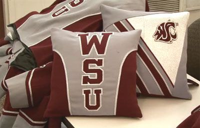 Making new use of old marching band uniforms, WSU's AMDT students have fabricated one-of-a-kind throw pillows and are selling them for $100 each to raise money to support their program. (Click on the image above.)