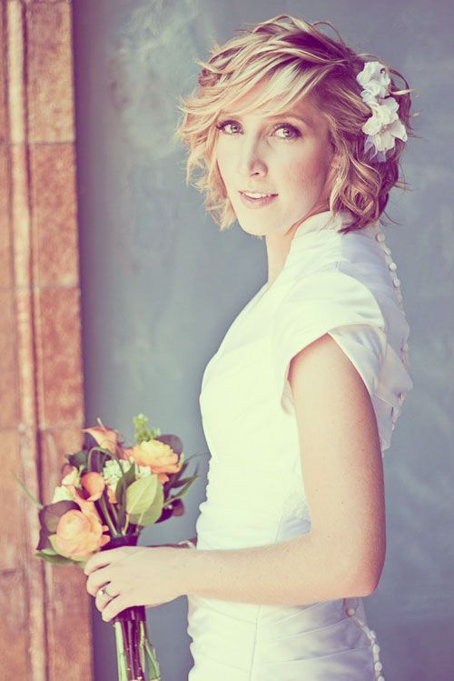 Look later! cute bob and shows groom in tux. 35 Short Wedding Hairstyles for Women