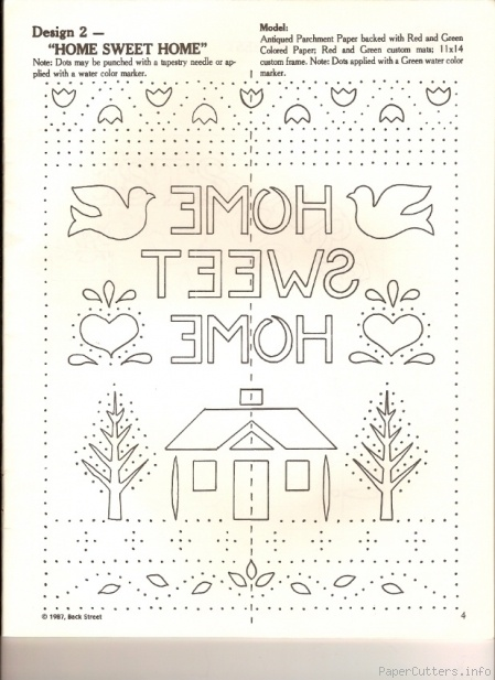 Home Sweet Home sampler... could be used as a template for a paper cut