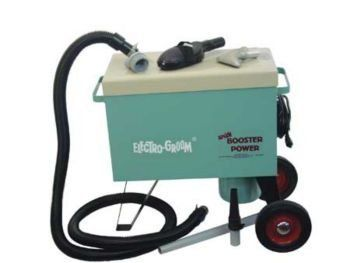 """Electro Groom by Electric Cleaner. $584.99. Excellent grooming power for removing dirt, loose hair, and parasites, leaving the natural oils in your horse's coat for a beautiful, shiny look. This unit is 28"""" high, 2"""" x 8"""" wheels. Tough baked enamel finish on 18-gauge steel. Two motor turbines, Lamb Mfr., 120 volt, 575 watts each 14.85 Amps, 150"""" of waterlift. Motors can be run separately for sensitive areas. Quickly removable filter bag catches overflow dust and debris preve..."""