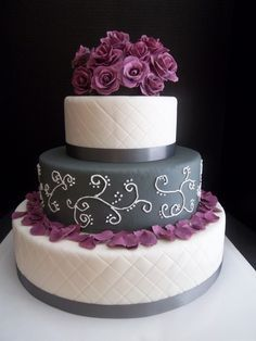 plum and grey wedding cakes - Google Search
