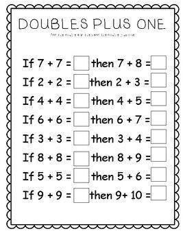Doubles Plus Worksheets | First grade math worksheets, 2nd ...