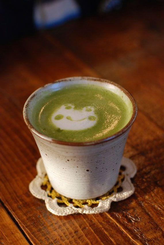 Japanese milk green tea latte art. too too too cute!!!!!!!!