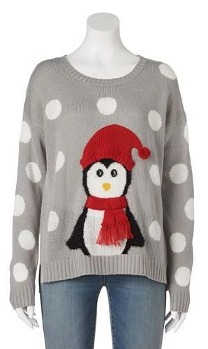 Its Our Time Penguin Ugly Christmas Sweater Juniors Holiday