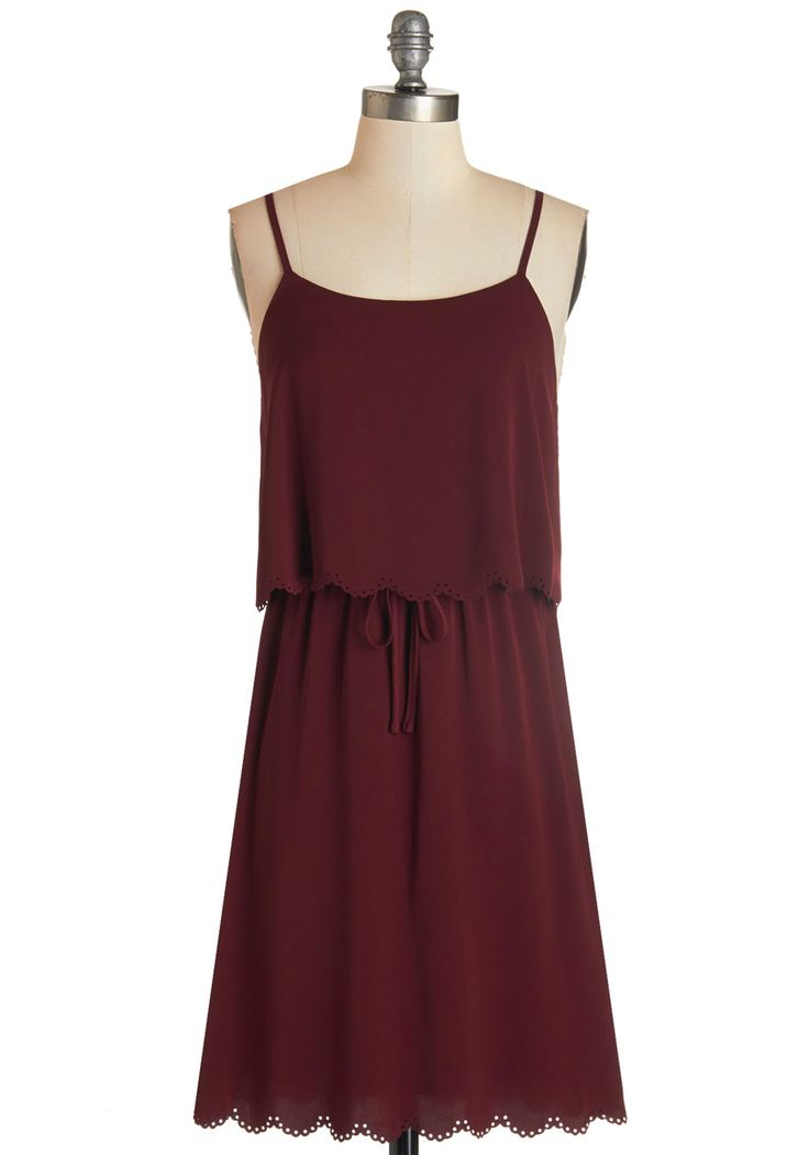 Mystical Monday Dress. The mysteries of the universe seem within reach when you take on the morning in this strappy maroon dress! #red #modcloth