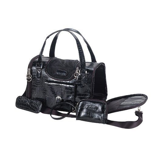 Anima Black Faux Crocodile Travel Bag, 15-Inch by 8-Inch by 10-Inch, Medium >>> Check out the image by visiting the link.