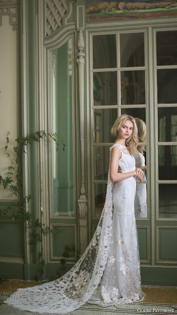 CLAIRE PETTIBONE #bridal #couture fall 2016 sleeveless illusion jewel v neck fully embellished lace vintage sheath #wedding dress low back watteau train (whitney) mv