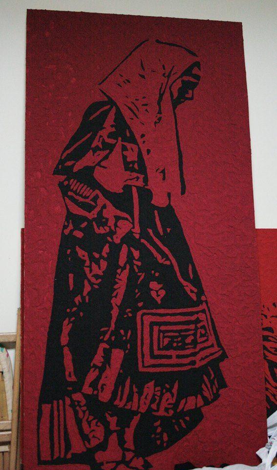 donna nuorese sabbia e quarzo su pannello