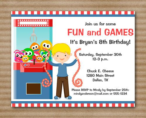 Arcade Invitation Arcade Birthday Party by PaperHouseDesigns – Chuck E Cheese Birthday Invitation Wording