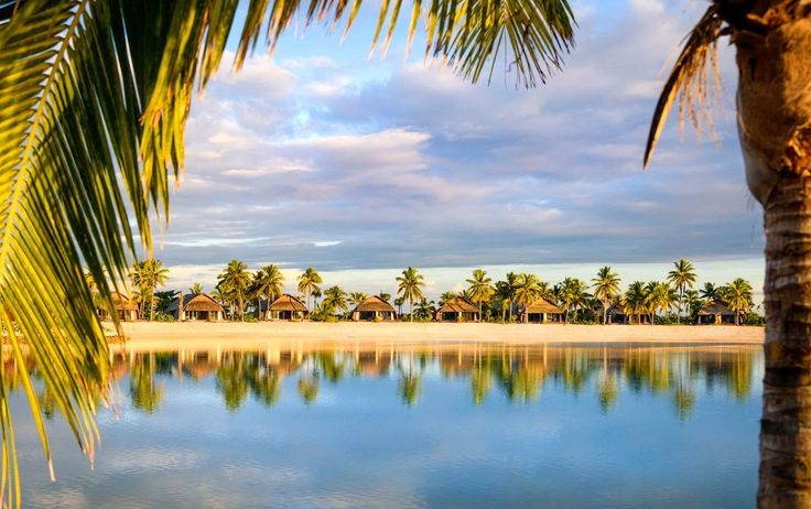 amazing shot of the over water villas at Marriott Momi Bay