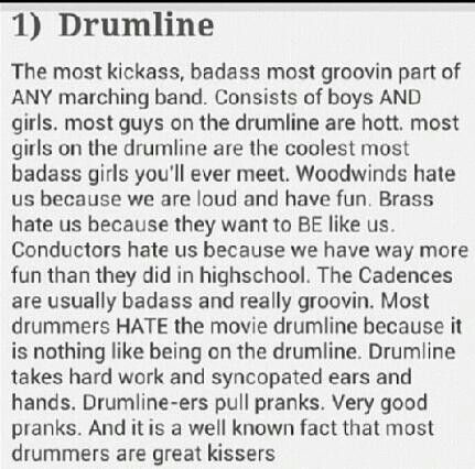 Drumline... well, umm excuse the language...