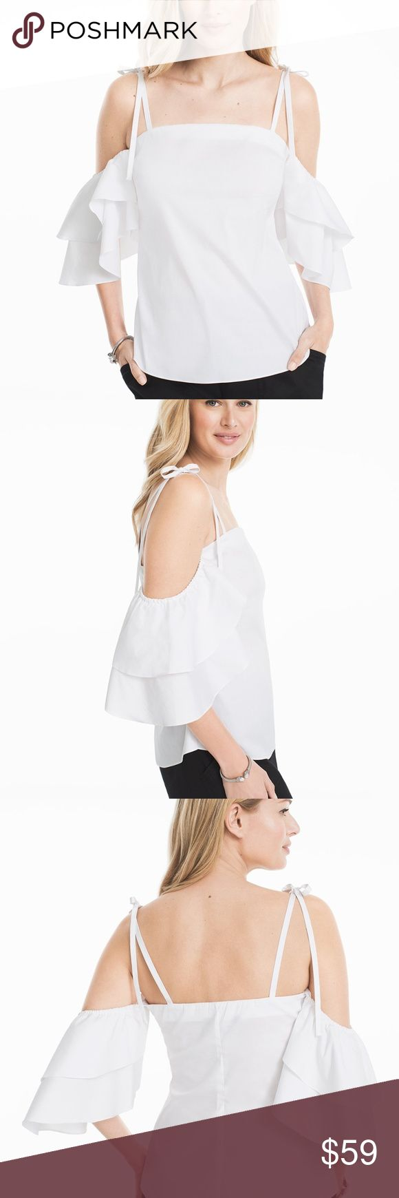 """White House Black Market Ruffle cold shoulder Top White house black market top indie cold shoulder in White  NWT.  Size 6  For the frill of it, we gave our latest shoulder-baring blouse dramatic ruffled sleeves and a white haute hue. The ties at the shoulders add extra feminine flair without the fuss...meaning you can adjust to your liking. Cold-shoulder white blouse Ruffled short sleeves with ties at each shoulder Regular: Approx. 25"""" from shoulder  Cotton/nylon/spandex. Machine wash cold…"""
