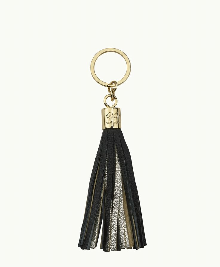 Gigi New York Tassel Key Chain In Chiffon And Gold Chiffon and gold GkHu3FhCX