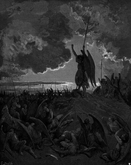 """Satan talks to the council of Hell by Gustave Doré (Jesus) He replied, """"I saw Satan fall like lightning from heaven. Luke 10:18"""