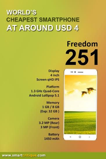 Freedom 251: India shocks the world with INR251 (USD4) smartphone