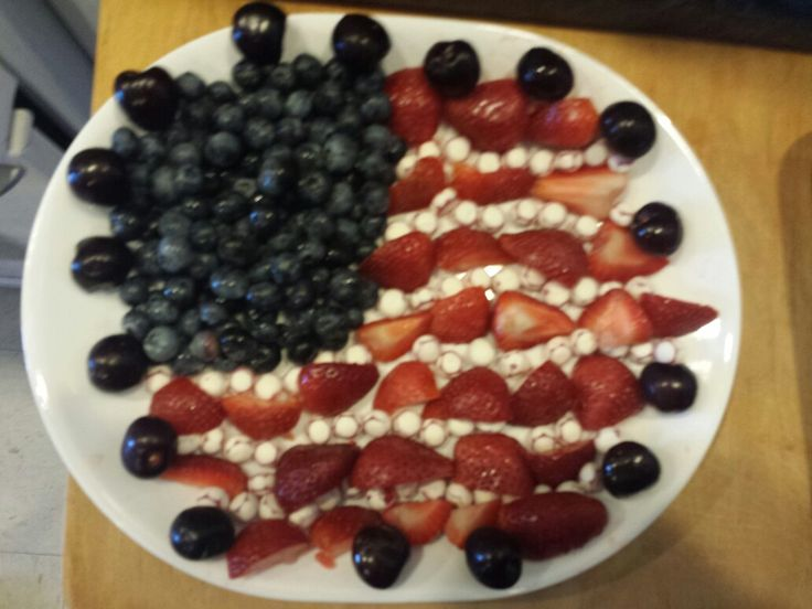 Fun for the Fourth of July, easy to make, and fun to do. This took me 5 minutes using blueberrys, cherrys, starwberrys, and yogurt covered fruit.