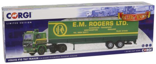 Corgi 1/50 Volvo F10 tilt trailer EMROGERS LTD - [gallery] Established in 1945 E. M. Rogers Limited remains a family owned international transport business. Based in Northampton and with supporting offices in Italy Holland and Spain the company operates from a purpose built 7 acre site. The company boasts a fleet of over 65 units 80 of which are under 3 years old.The majority of the 140 trailers comprise of tilt trailers as modelled here and curtainsides as well as a number o