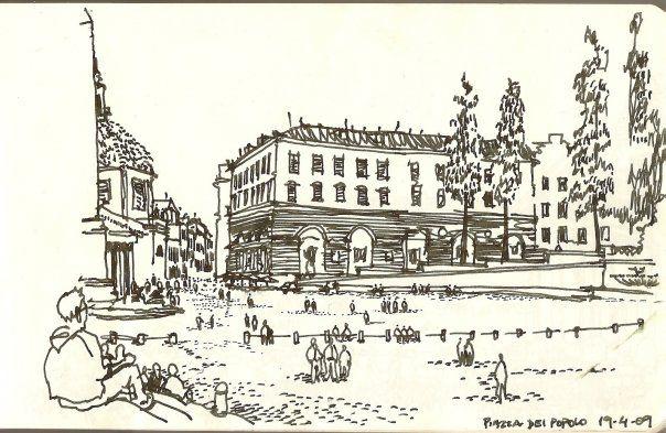 Piazza del Popolo Dibujo de Javier Bossi