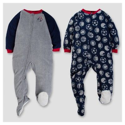 Gerber Toddler Boy 2pk Sports Microfleece Zip-Front Footed Blanket Sleepers - Gray 4T