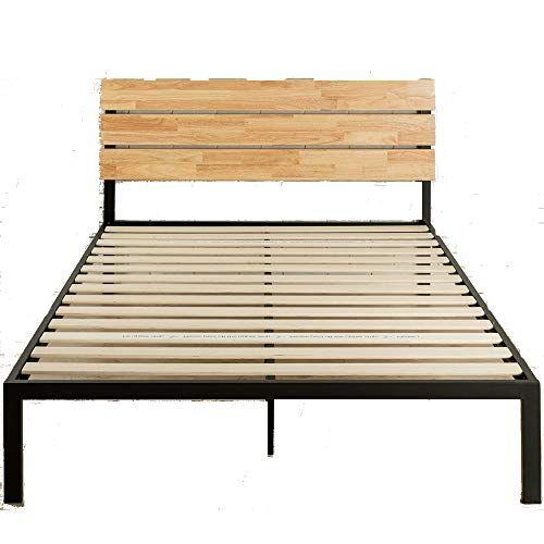 Rustic Queen Bed Frame Headboard Wooden Slats Steel Frame Noise