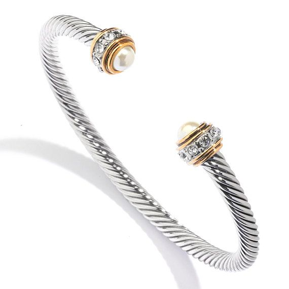 stainless chain com pearl rhodium end aliexpress bangles open steel bracelet store plated cable cuff bangle new ladys product twisted buy