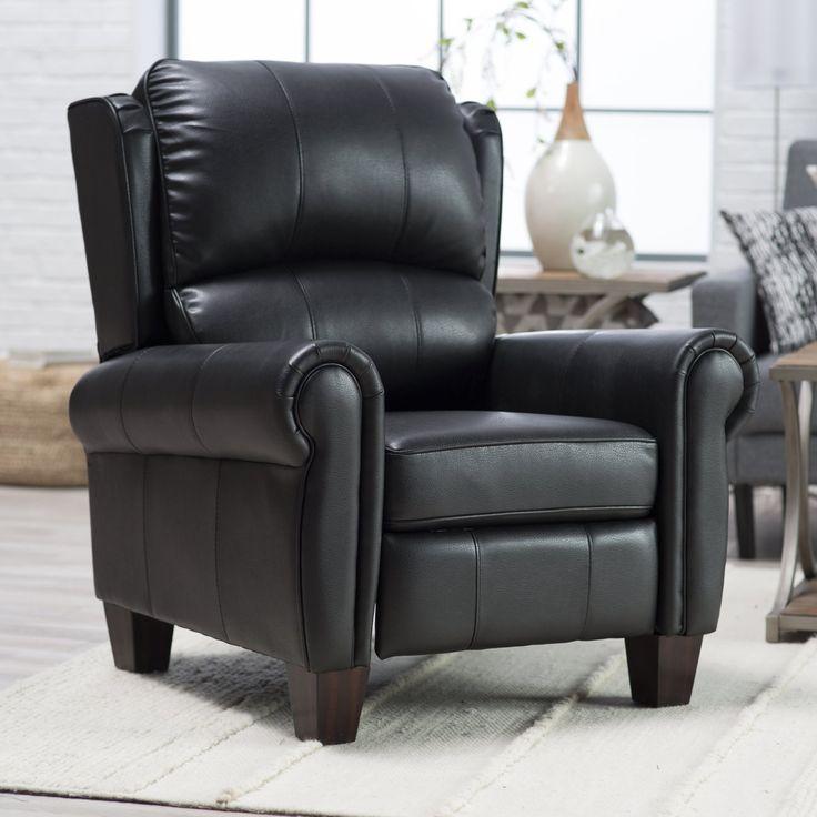 Barcalounger Charleston Leather Push Back Recliner - Black - 74030510013