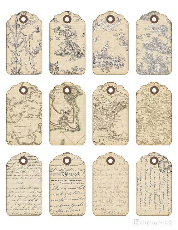 Feuille de Collage numérique cadeau imprimable Tags par FrezeArt