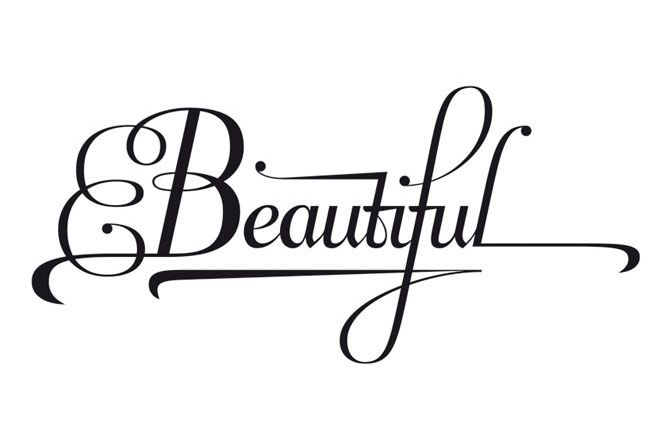 Beautiful    What does 'beautiful' look like typographically?  One option is certainly refined, calligraphic and flourished.    Lettering by seblester.co.uk