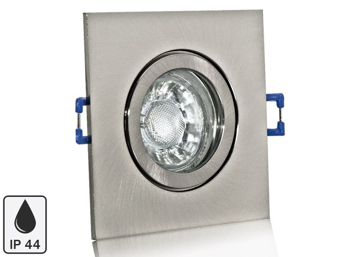 Feuchtraum LED Einbaustrahler Set IP44 Aluminium eisengebürstet eckig mit Marken GU10 LED Spot Bioledex Helso 3 Watt COB