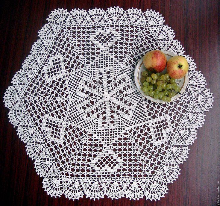 Купить Большая шестиугольная салфетка вязаная крючком - кремовый, белый, винтаж, текстиль для дома
