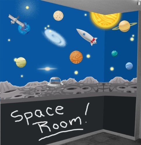 Space Wall Mural Decals Solar System Wall Stickers for Ki...