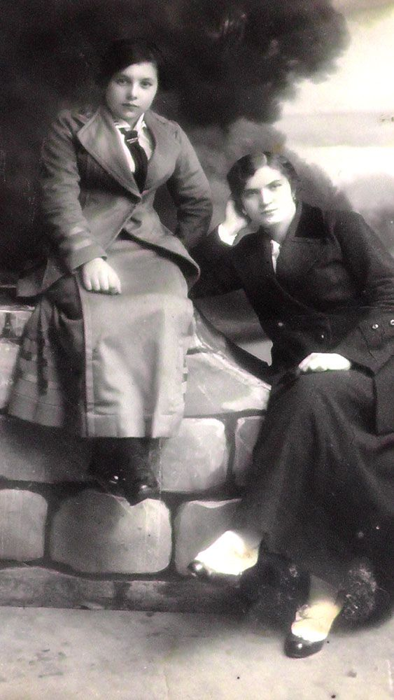 C. 1909. Anna Corona Onorati and her sister Rustica Fausta Onorati of Bono, Santa Croce del Bleggio. Rustica hated her first name, so she changed it to 'Lena' when she grew up. Few family members knew her actual birth name.