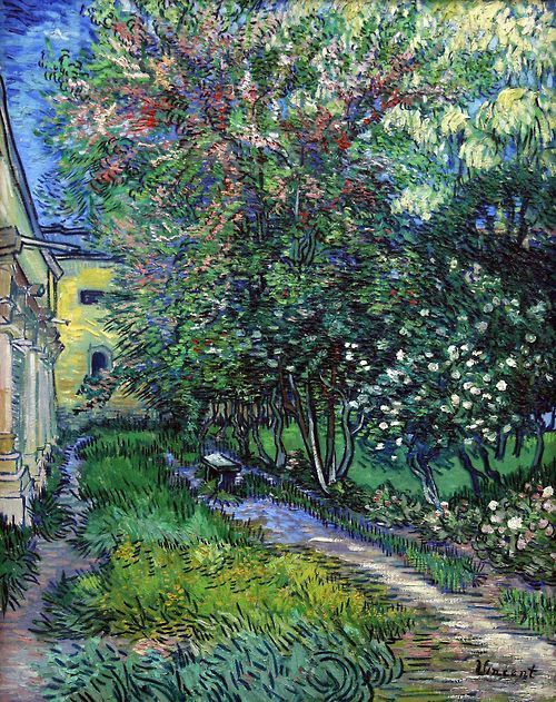 """Vincent van Gogh - The Garden of Saint Paul Hospital - 1889 """"I shouldn't precisely have chosen madness if there had been any choice, but once such a thing has taken hold of you, you can't very well get out of it."""" Vincent van Gogh"""