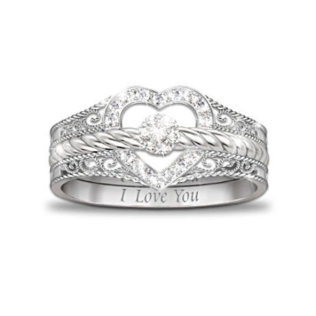 3 solid sterling silver rings can be worn separately or together to form a symbolic heart. Love this idea for my girl, father can give them bottom part when they get engaged, top part when they get married, and middle one once they have their first child.