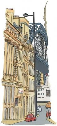 "Anji Allen's version of a classic view of the Tyne Bridge as you are leaving the Newcastle side.  ""It always makes me think of the many places people could be going as they leave the city."""