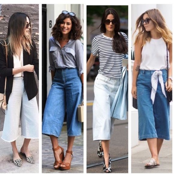 Rag & Bone Denim Culottes These Rag & Bone Culotte/Gaucho bottoms are so chic and comfy! Very trendy and easy to wear! These are brand new with tags, and retail for $220! These are a size 28! Love these with heels or flats! Perfect for summer!! First pic is to show styling ideas!  rag & bone Jeans
