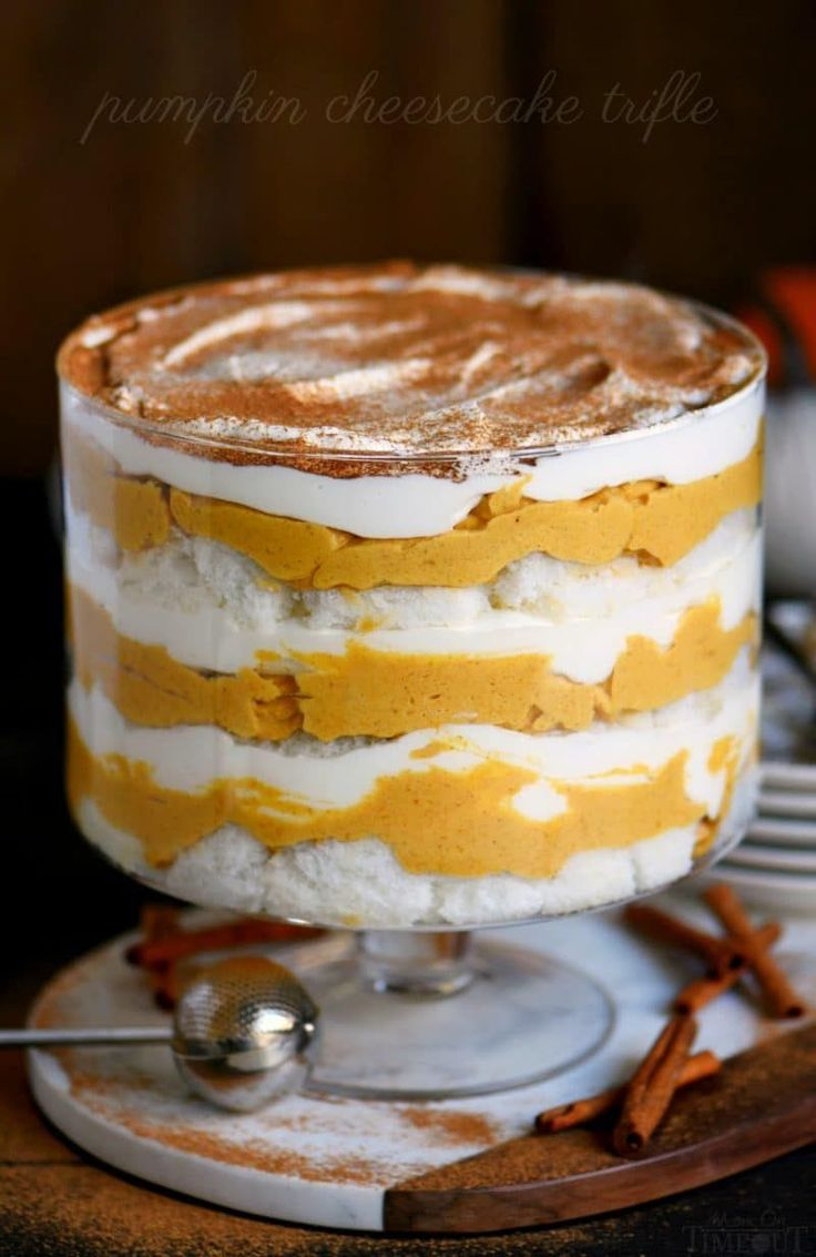 This Pumpkin Cheesecake Trifle is sure to impress all season long! Layers of pumpkin cheesecake, whipped cream and angel food cake combine for a fall treat that's impossible to resist! Gorgeous, simple, and totally delicious!