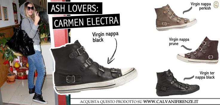Conosciamo la showgirl americana Carmen Electra in vesti super femminili e sensuali, ma noi la preferiamo acqua e sapone con indosso le Ash modello Virgin Nappa Black! Cosa pensate?! #ashitalia