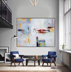 Extra grande pintura contemporánea, arte enorme lienzo abstracta, obras de arte originales de Leo. Blanco, amarillo, rojo, gris, azul. -Celine Ziang arte